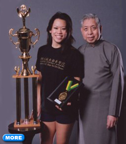 Tiffany and William Chen with trophy
